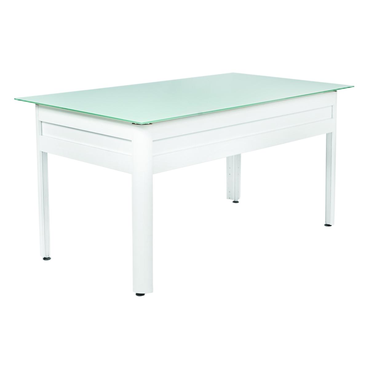 bureau city blanc plateau verre blanc opaque 120x80 internation moduling. Black Bedroom Furniture Sets. Home Design Ideas
