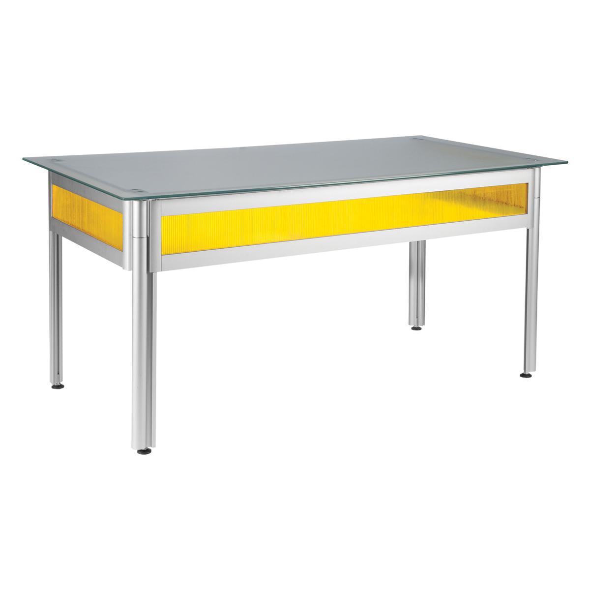 Bureau flashy jaune plateau verre opaque 120x80 for Bureau jaune