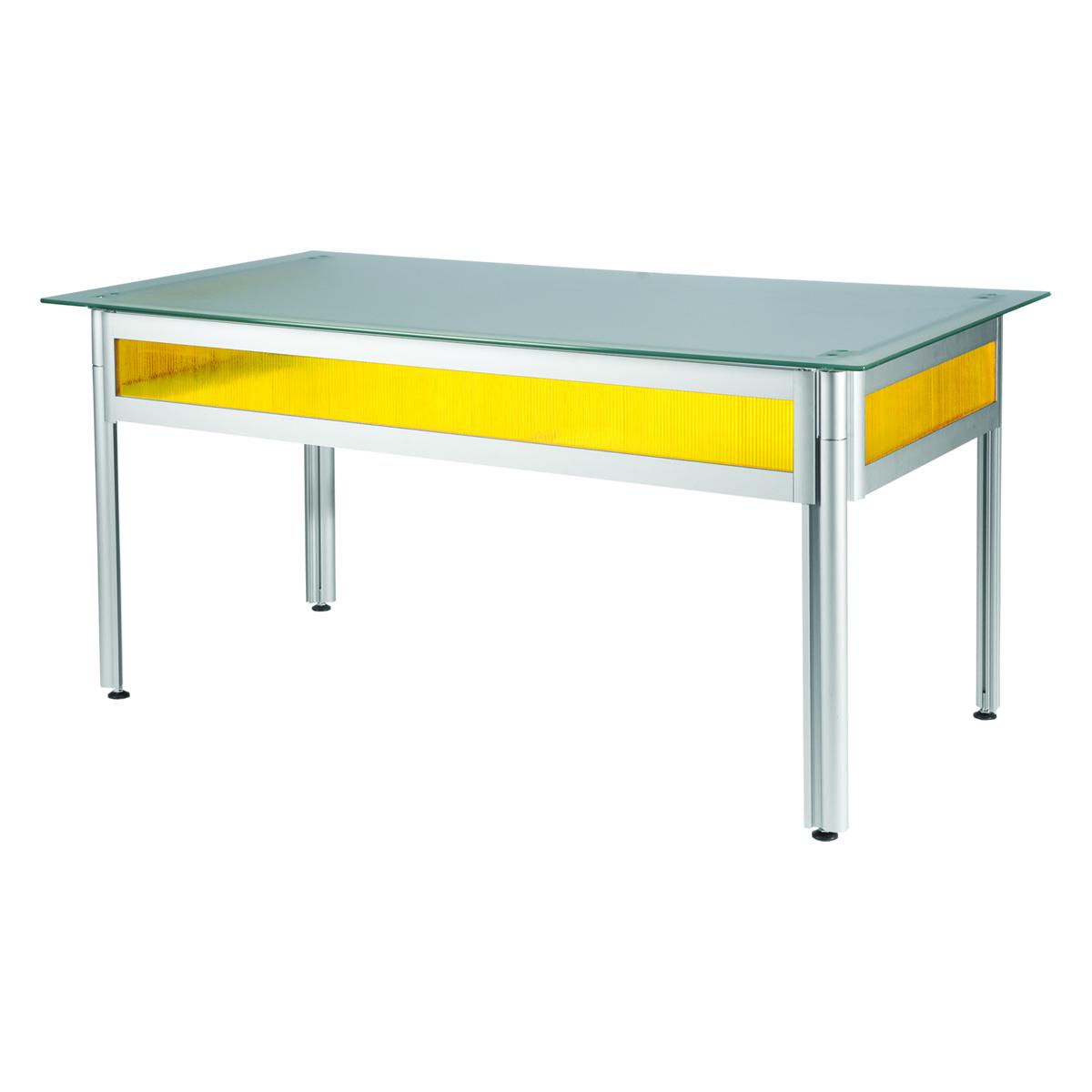 Bureau flashy jaune plateau verre opaque 150x80 for Bureau jaune