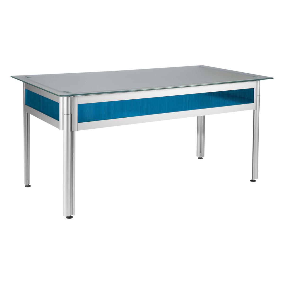 bureau flashy bleu plateau verre opaque 120x80 internation moduling. Black Bedroom Furniture Sets. Home Design Ideas