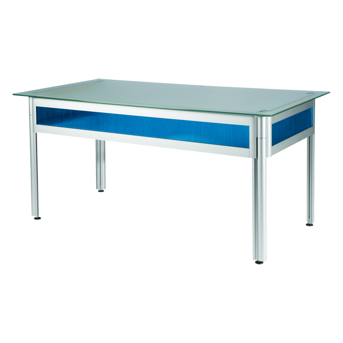 bureau flashy bleu plateau verre opaque 150x80 internation moduling. Black Bedroom Furniture Sets. Home Design Ideas