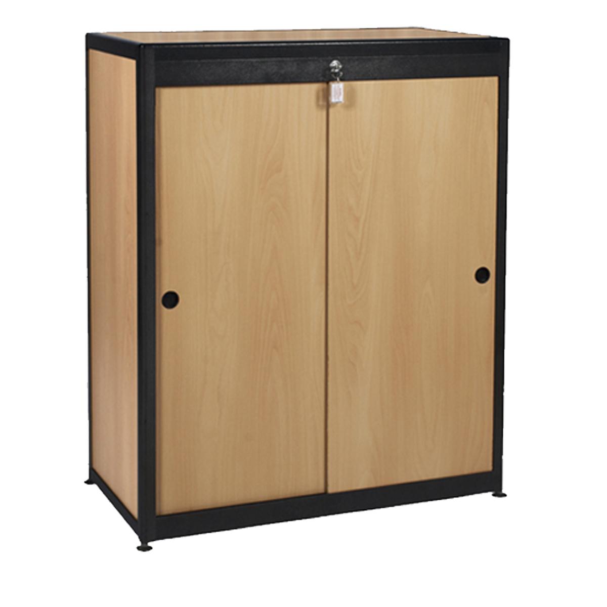 Meuble rangement bois alu noir 90x50x110 internation for Meuble bois noir