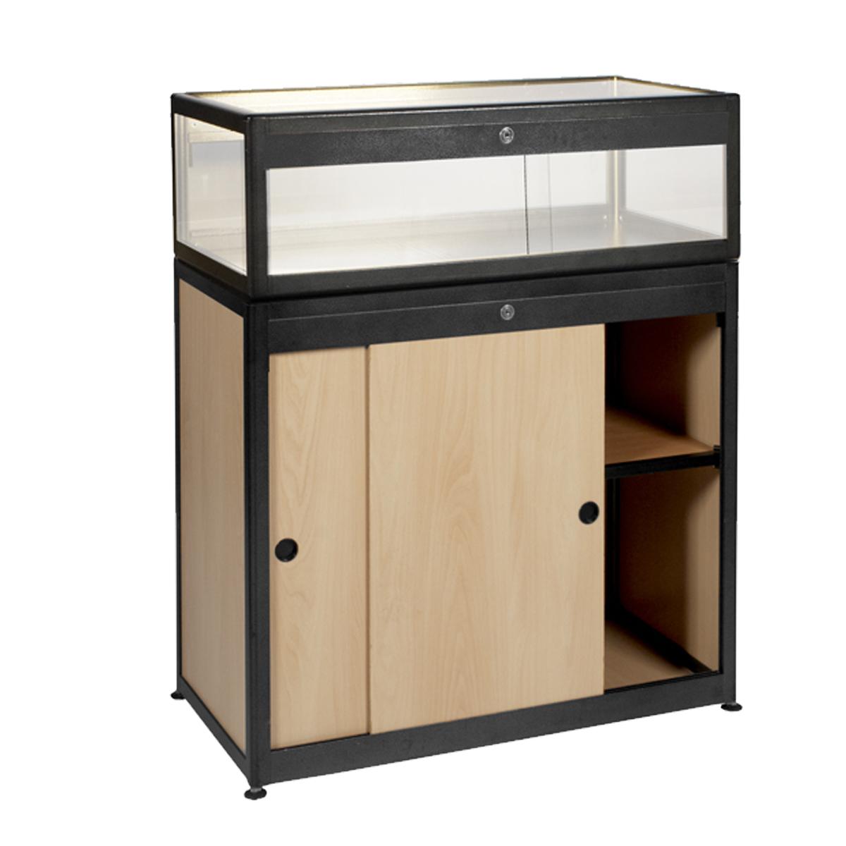 Vitrine comptoir meuble bois alu noir internation moduling for Meuble bois noir